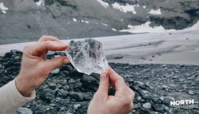 The ice of the Steindalsbreen glacier